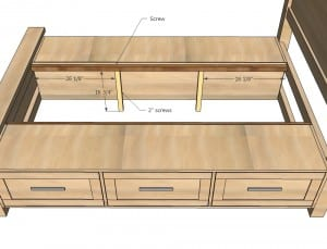 king bed drawers