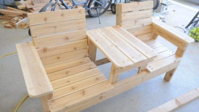 double bench chairs with table