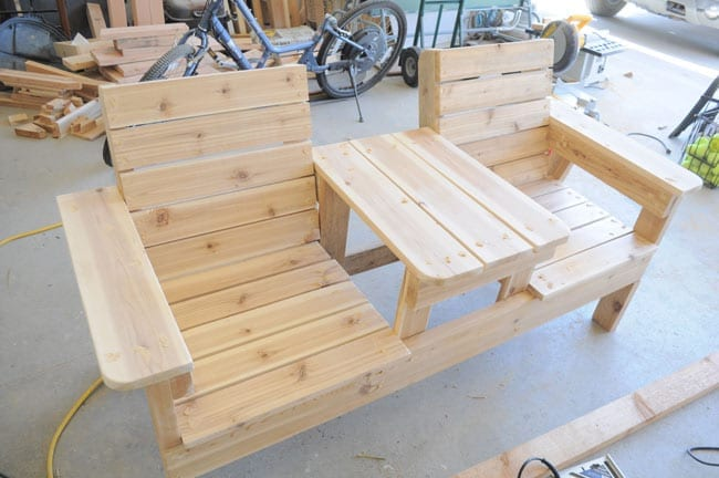Double Bench Chair Table