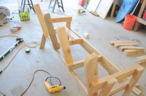 Double bench chair and table